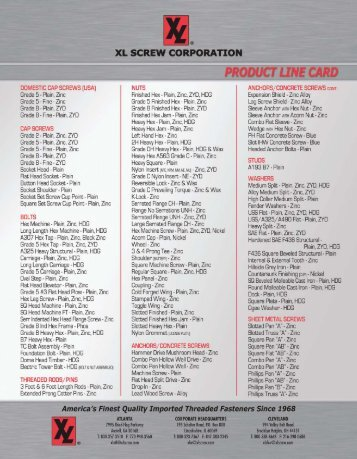 English Line Card 2012 - XL Screw Corporation