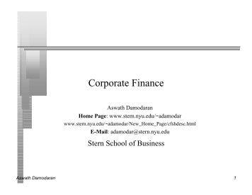 Corporate Finance Presentation - NYU Stern School of Business