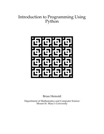 Introduction to Programming Using Python - Faculty - Mount St ...