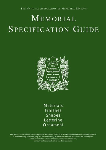 MEMORIAL SPECIFICATION GUIDE - the National Association of ...