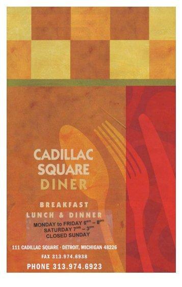 Cadillac Square Diner Menu - Cadillac Square Dinner