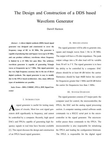 The Design and Construction of a DDS based Waveform Generator