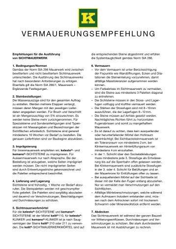 VERMAUERUNGSEMPFEHLUNG - Keller AG Ziegeleien