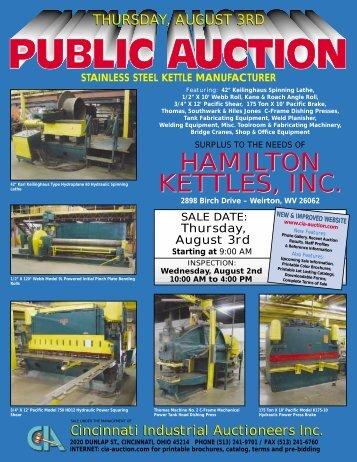 Hamilton kettles, inc. - Cincinnati Industrial Auctioneers, Inc.