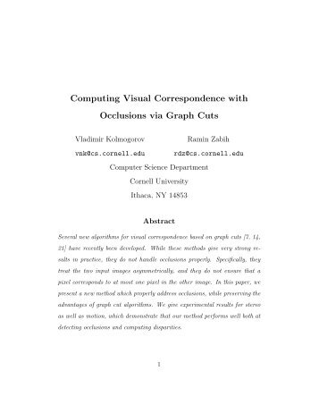 Computing Visual Correspondence with Occlusions via Graph Cuts