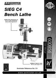 SIEG C4 Bench Lathe - Axminster Tool Centre