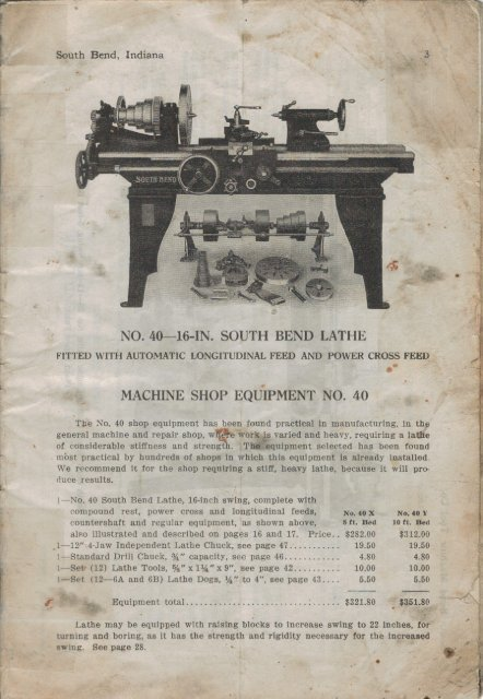 NO  40~16-IN  SOUTH BEND LATHE