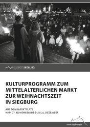kulturprogramm zum mittelalterlichen markt zur ... - Siegburg
