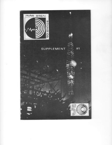 Mar-Bren Sound Company - Supplement #1 - Old Time Radio ...