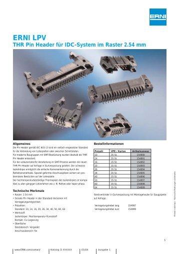ERNI-LPV-THR Pin Header für IDC-System im Raster 2.54 mm