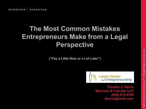 The Most Common Mistakes Entrepreneurs Make from a Legal Perspective