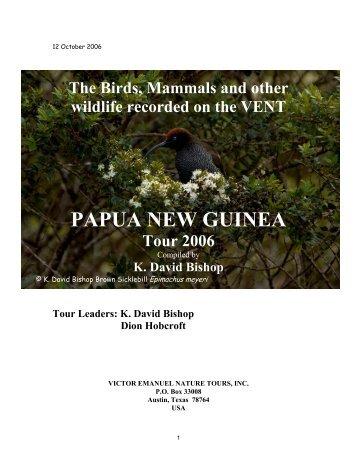 Papua New Guinea: PDF (349.9 - Victor Emanuel Nature Tours