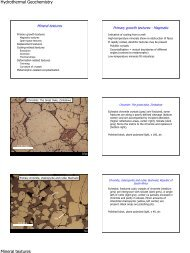 Hydrothermal Geochemistry Mineral textures