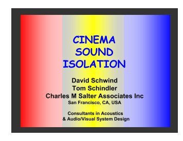 Cinema Sound Isolation: David Schwind & Tom Schindler - the ...
