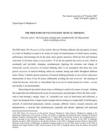 Tijana Popović Mladjenović THE PROCESSES OF ... - New Sound