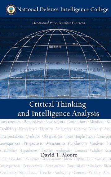 Critical Thinking and Intelligence Analysis - The Air University