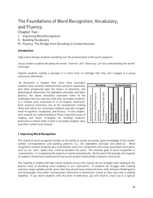 The Foundations of Word Recognition, Vocabulary, and Fluency