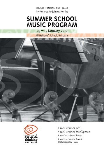 Summer School muSic Program - Sound Thinking Australia
