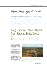 Long Duration Balloon Flights from Esrange Space ... - NordicSpace