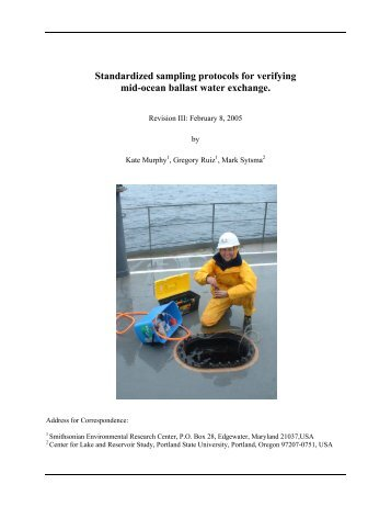 Standardized sampling protocols for verifying mid-ocean ballast ...