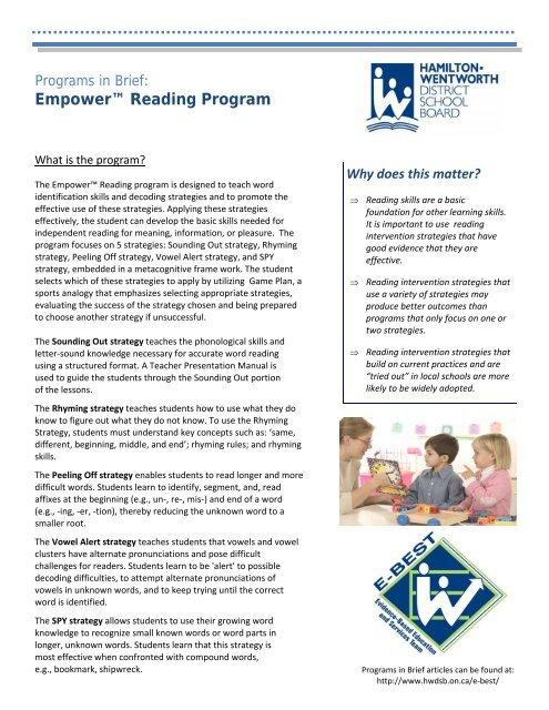 Empower™ Reading - Hamilton-Wentworth District School Board