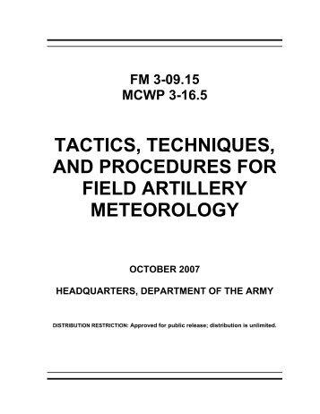 tactics, techniques, and procedures for field artillery meteorology