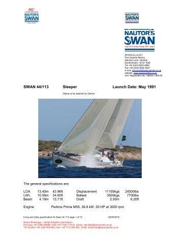 SWAN 44/113 Sleeper Launch Date: May 1991 - Nautor's Swan UK