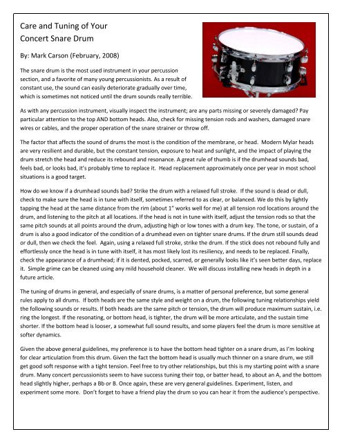 Care and Tuning of Your Concert Snare Drum - Doug Wallace