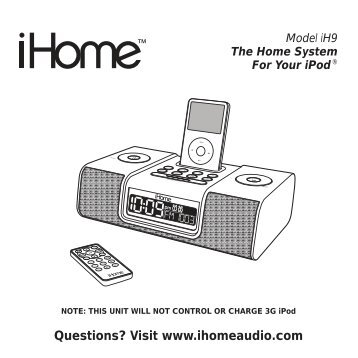 model ih52 the home system for your ipod ihome rh yumpu com iHome H120b ihome model ih6 manual