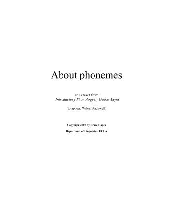 Introductory Phonology - UCLA Department of Linguistics