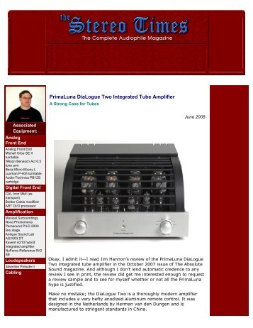 PrimaLuna DiaLogue Two Integrated Tube Amplifier
