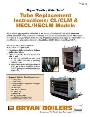 Tube Replacement Instructions - Bryan Boilers