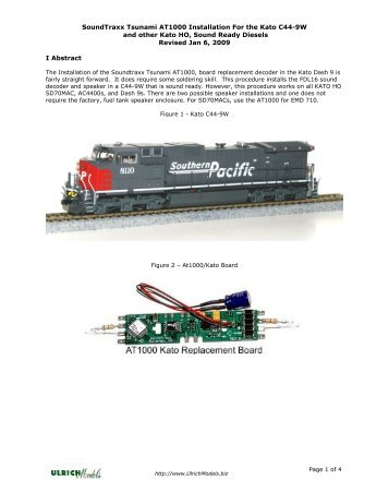 SoundTraxx Tsunami AT1000 Installation For the ... - Ulrich Models