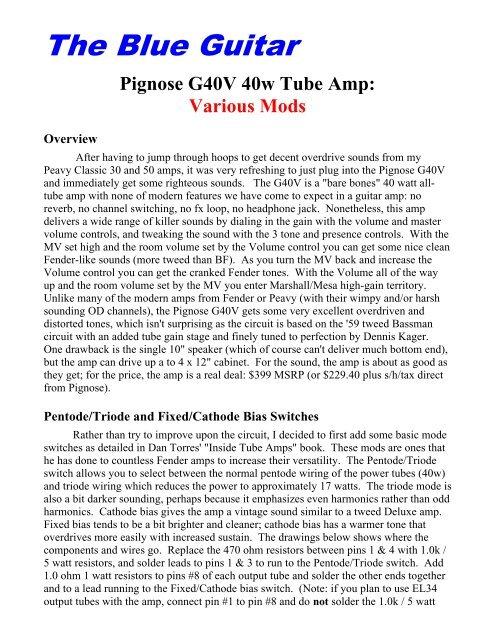 Pignose G40V 40w Tube Amp - The Blue Guitar