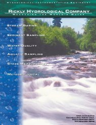 Stream Gaging Accessories - Rickly Hydrological Company