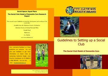 Guidelines to Setting up a Social Club - Alzheimer Society of Ireland