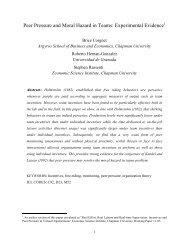 Peer Pressure and Moral Hazard in Teams - Chapman University