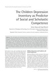 The Children Depression Inventory as Predictor of Social and ...