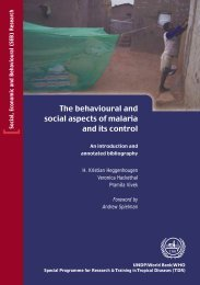 The behavioural and social aspects of malaria and - World Health ...
