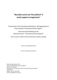 """""""Boundary work and 'the political' in social support arrangements"""""""