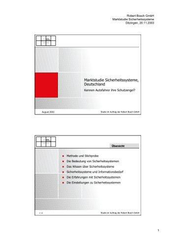 Marktstudie sicherheitssysteme August 2003.pdf - Spiegel Institut ...