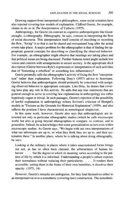 Explanation in the Social Sciences