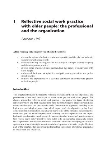 1 Reflective social work practice with older people: the ... - McGraw-Hill