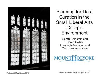 Planning for Data Curation in the Small Liberal Arts College ...