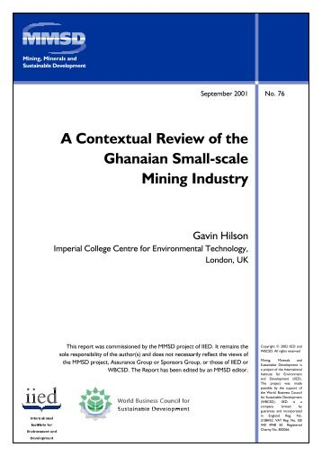 A Contextual Review of the Ghanaian Small-Scale Mining Industry
