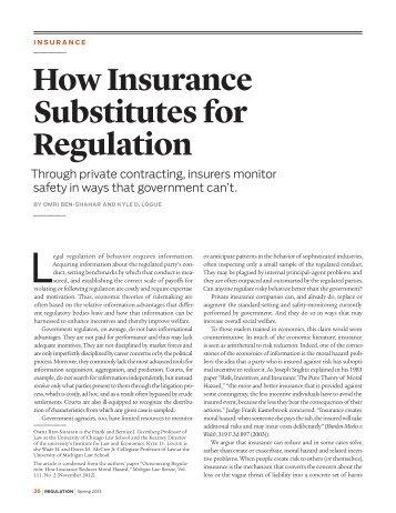 How Insurance Substitutes for Regulation - Cato Institute