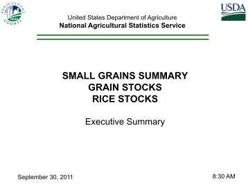 small grains summary grain stocks rice stocks - National Agricultural ...