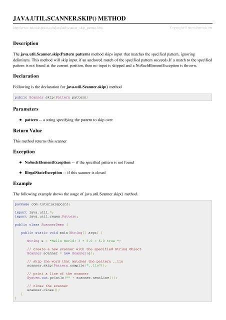 Java util Scanner skip(Pattern pattern) Method