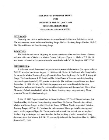 Madera Bombing Range Inventory Project Report - Corpsfuds.org