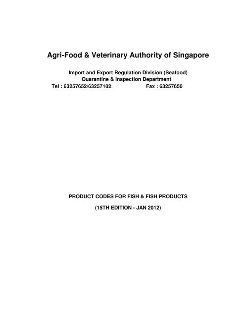 AVA (Seafood) product codes - Singapore Customs